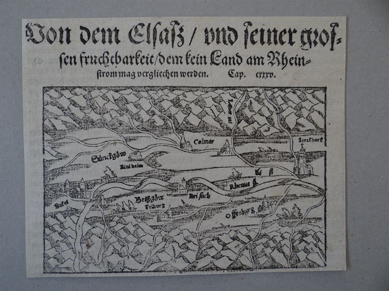 Alsace-Basle-Course of the Rhine, anno 1550, Münster Sebastian