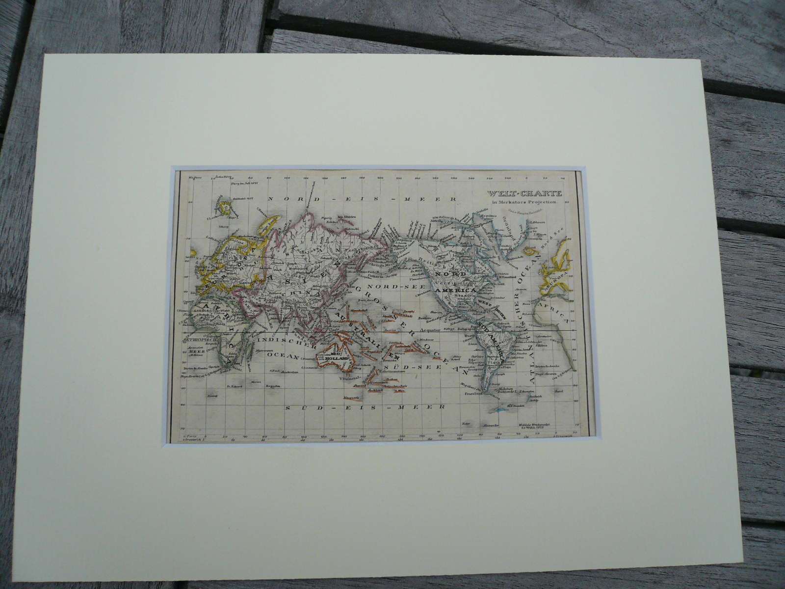 World + 4 Continents, anno 1850, 6 steelengravings