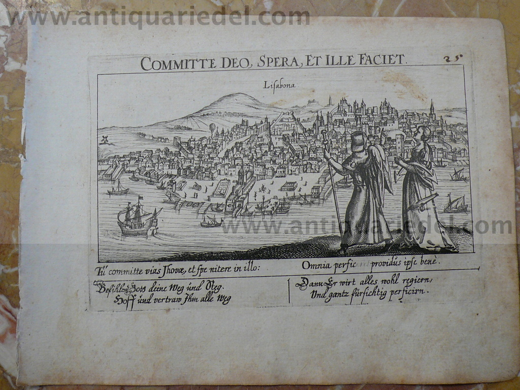 Lisbon, anno 1630, Meisner/Kieser, copperengraving