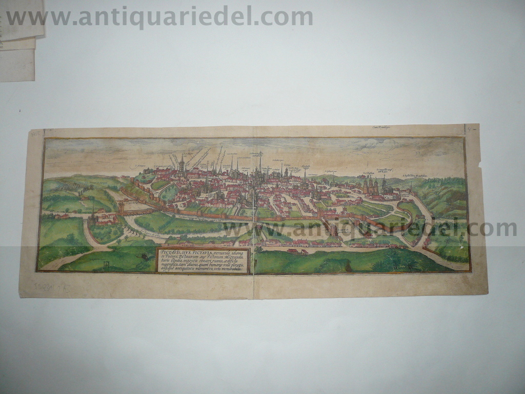 Poitiers, edited anno 1580, contemporary coloured