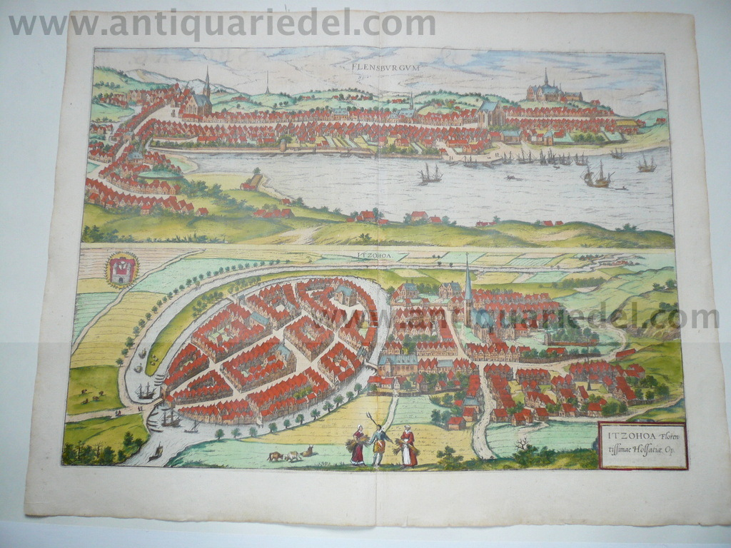 Flensburg, Itzehoe, anno 1590, coloured