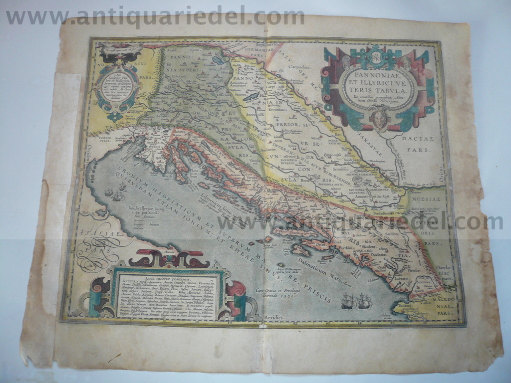 Ortelius, Abraham, Balkan map, anno 1603, coloured
