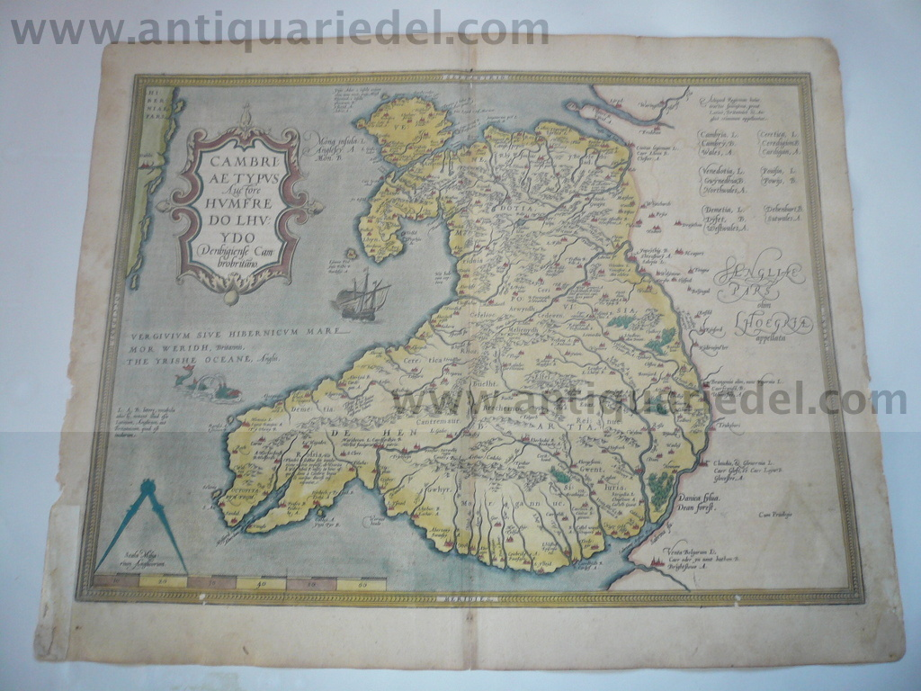 Wales, map, Ortelius A., anno 1603, cont.coloured