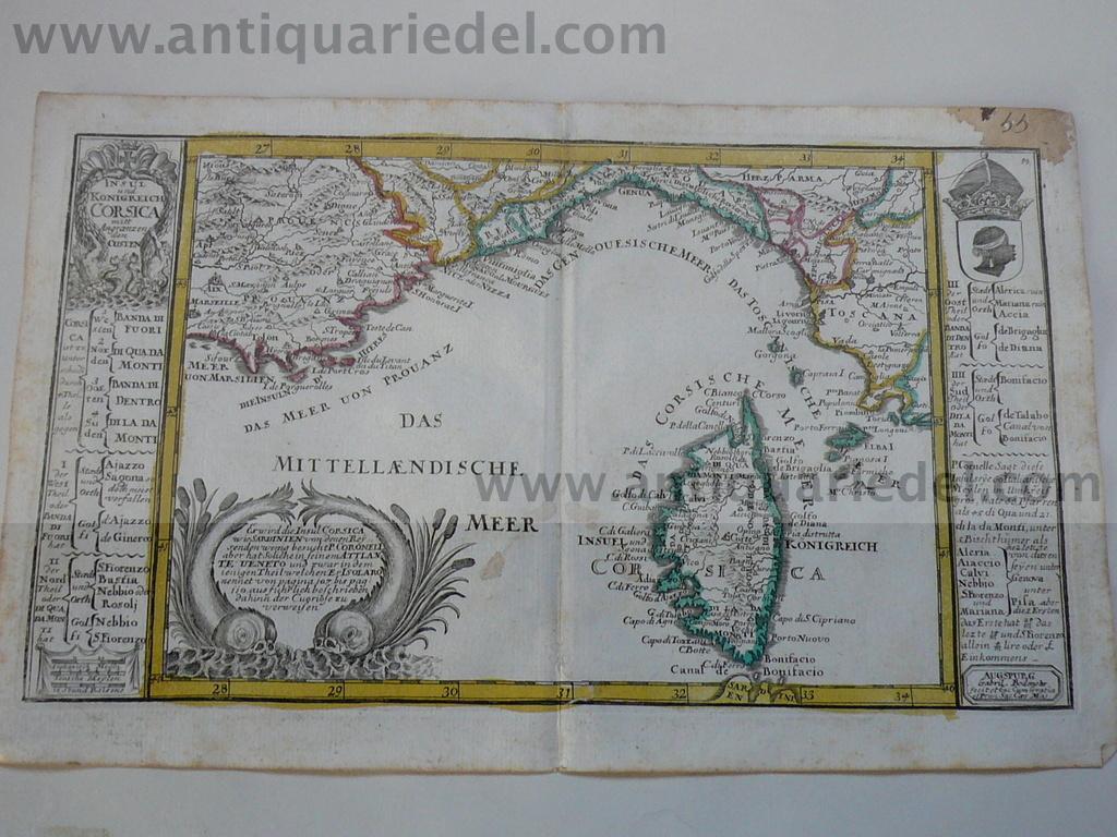 Corsica,map,Bodenehr,a.1720