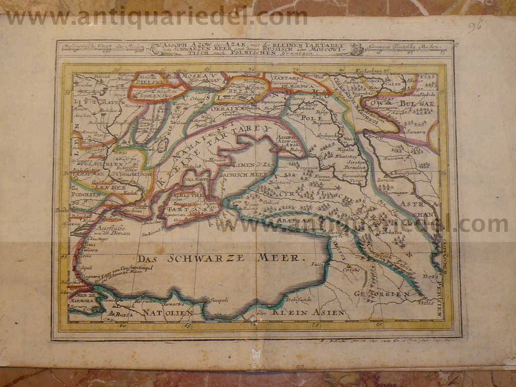 Ukraine map, Gabriel Bodenehr, a.1720,Black Sea