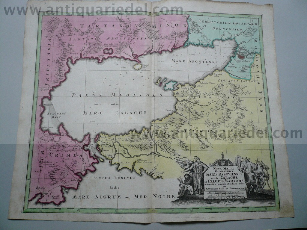 Black Sea,map,Seutter,anno 1730, contemporary coloured