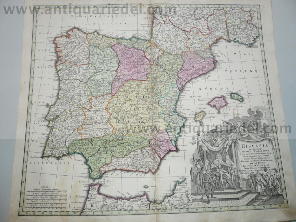 Spain, generalmap, Seutter M., anno 1730, contemporary coloured