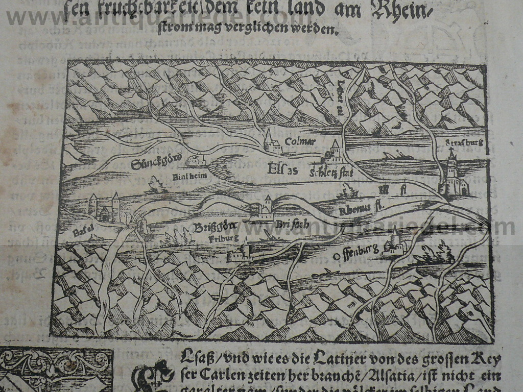 Alsace map, Münster S.,anno 1570, course of the rhin