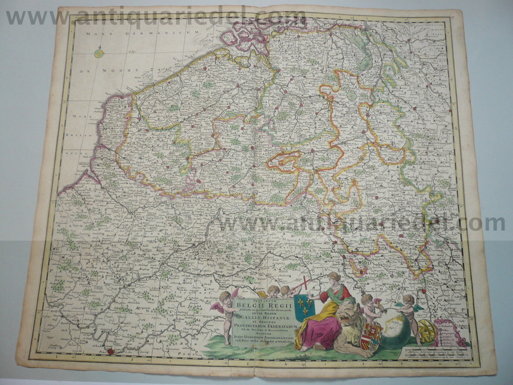 Belgii regii, NL,map,J.Danckerts,anno 1690, cont.coloured