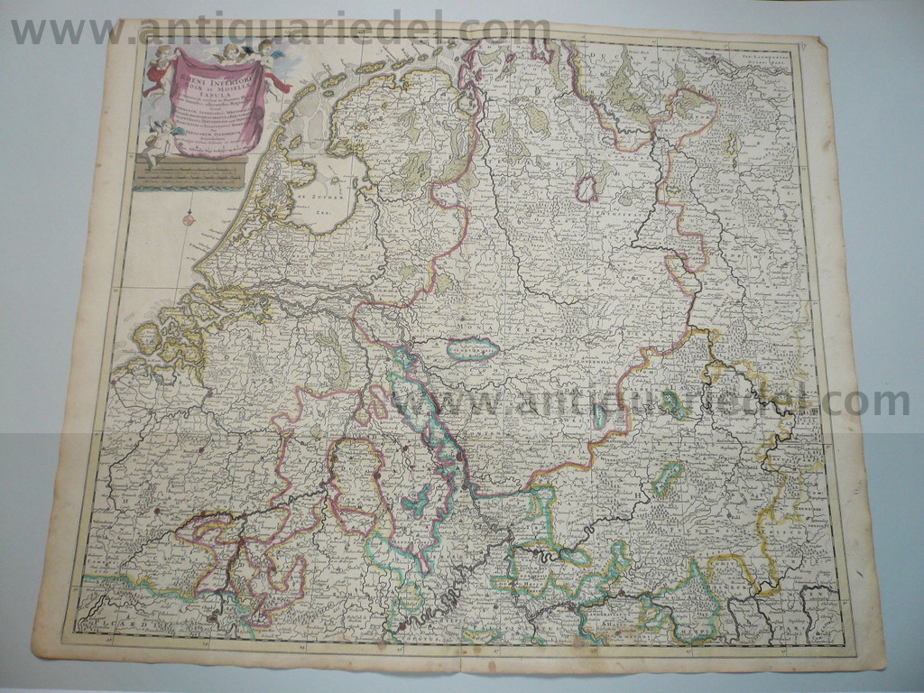 Holland,Belgium,map, J.Danckerts anno 1690, coloured