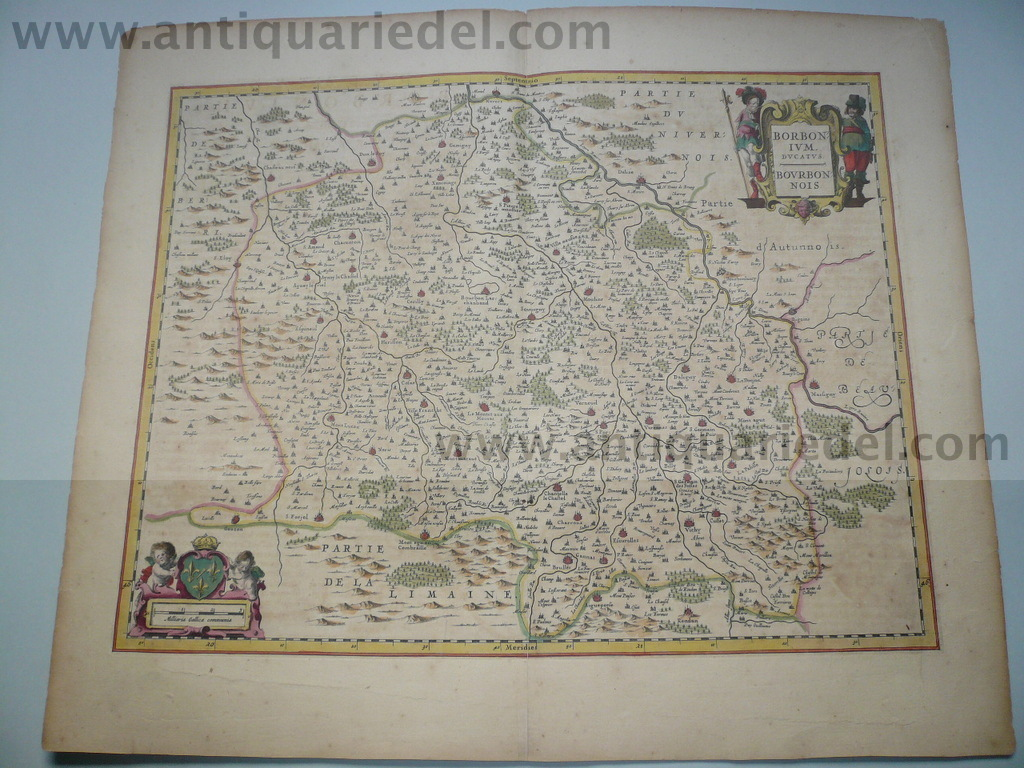 Borbonium,map,Blaeu, anno 1640, old coloured