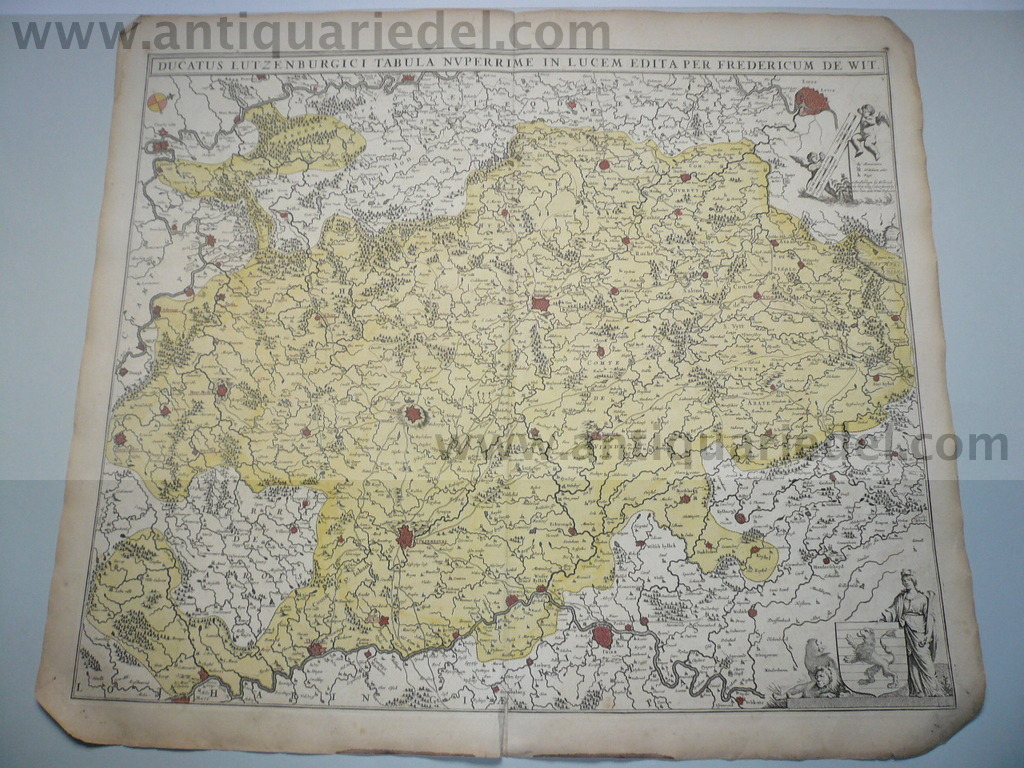 Ducatus Lutzenburgici,map, edited by F.de Wit, contemporary colo