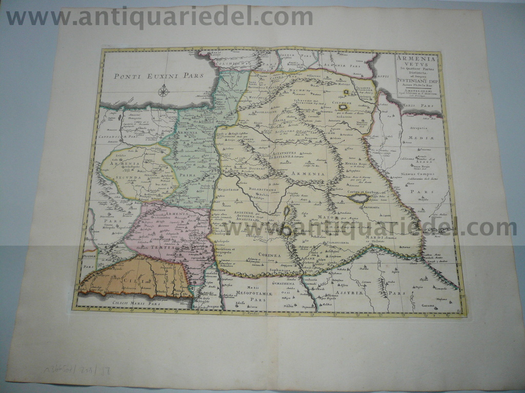Armenia, map, anno 1730, Covens & Mortier, old coloures