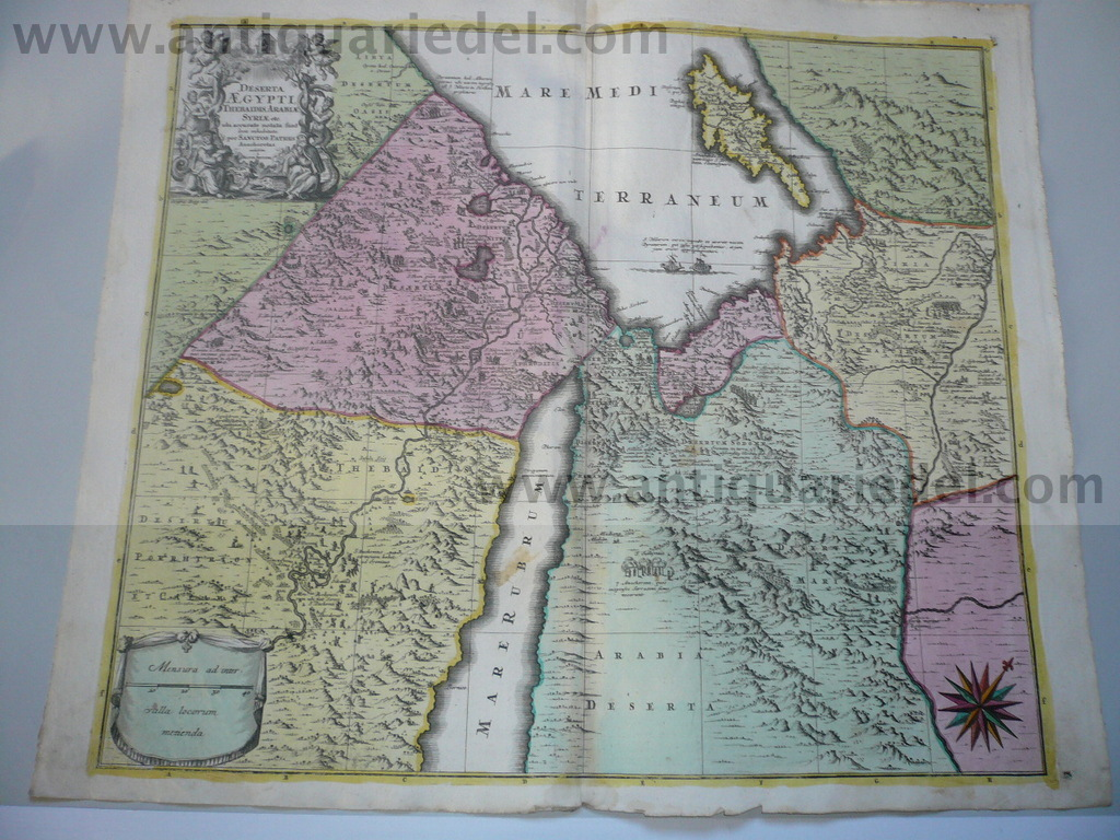 Middle East, Cyprus, map, Seutter Matthäus, anno 1730, old colou