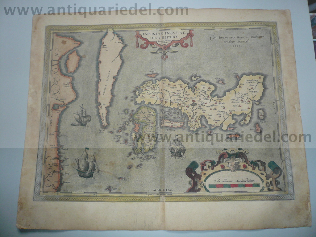 Iaponiae Insulae, map, anno 1603, Ortelius, contemporary full co