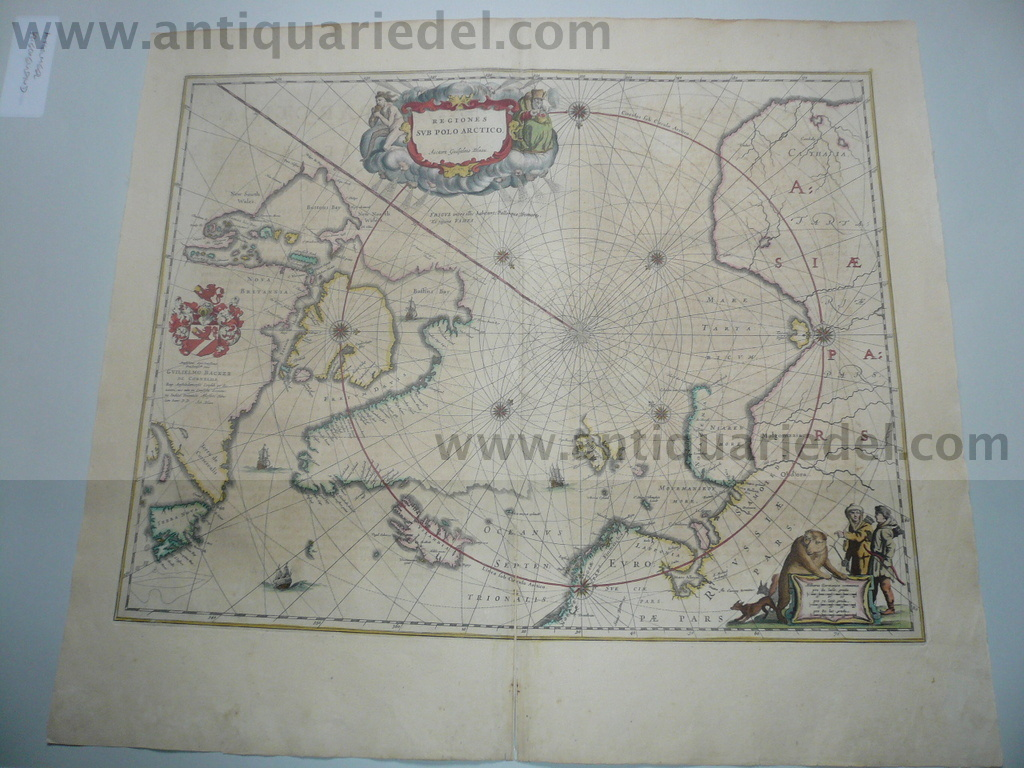 Sub polo arctico, map, anno 1650, Blaeu, old colours