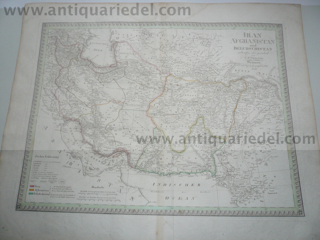 Persia,Afghanistan, map anno 1838, big size