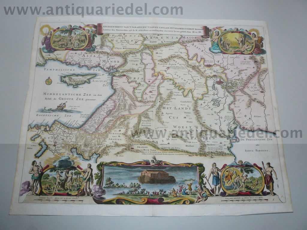 Holy Land, Israel, anno 1748, map, coloured