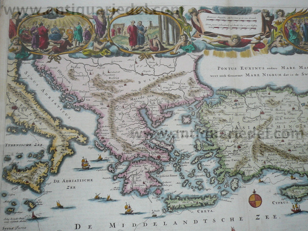 Eastern Mediterranean, Cyprus, anno 1730, old colours