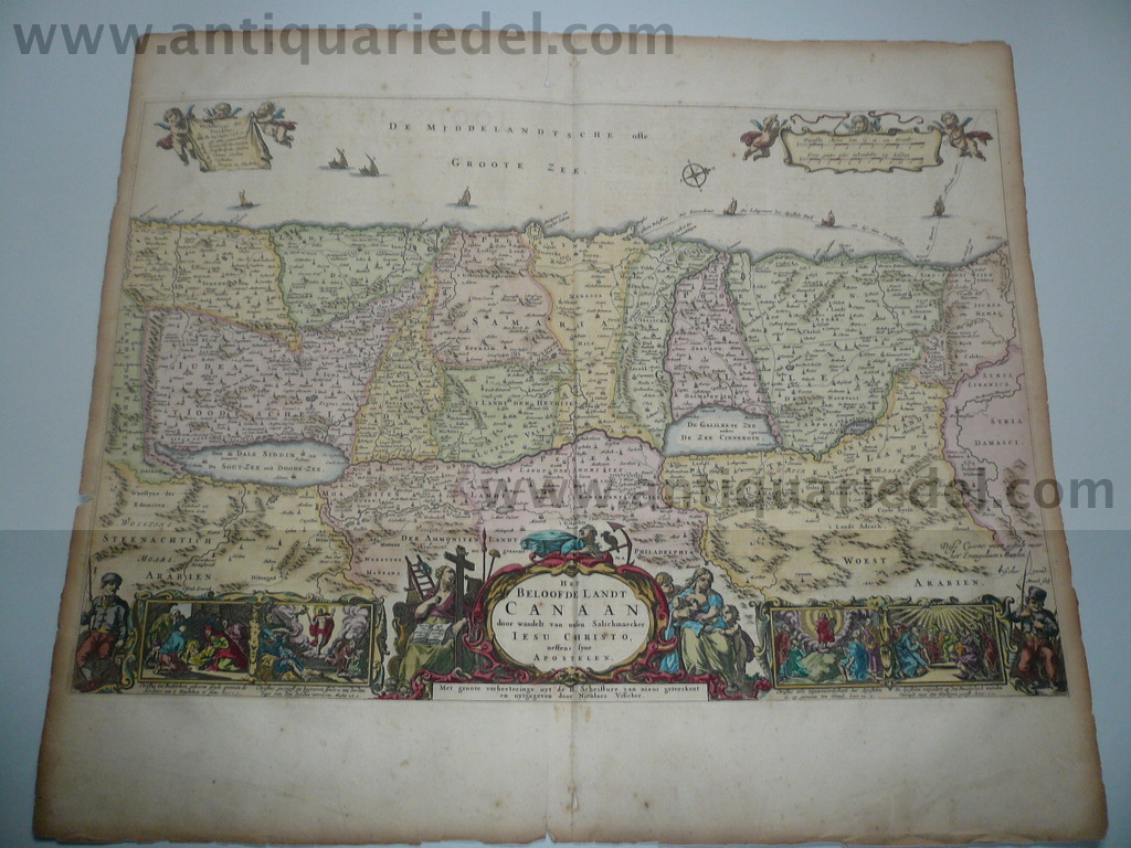 Canaan, map anno 1660, old colours, N. Visscher
