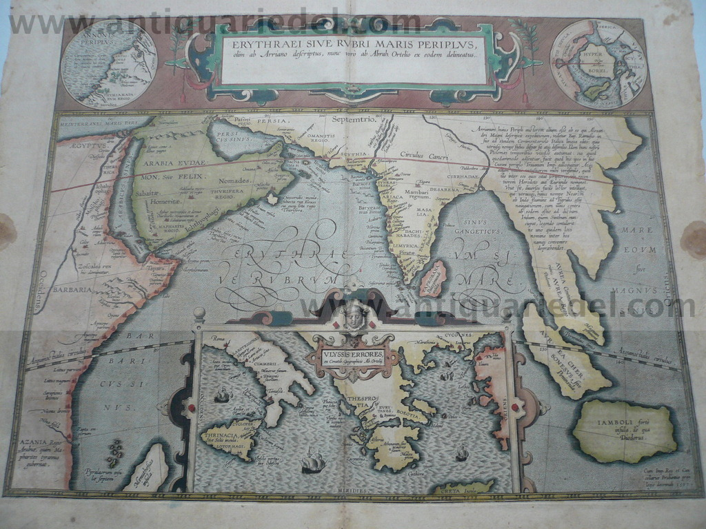 Indian Ocean, Erythraei, anno 1603, Ortelius Abraham, old colour