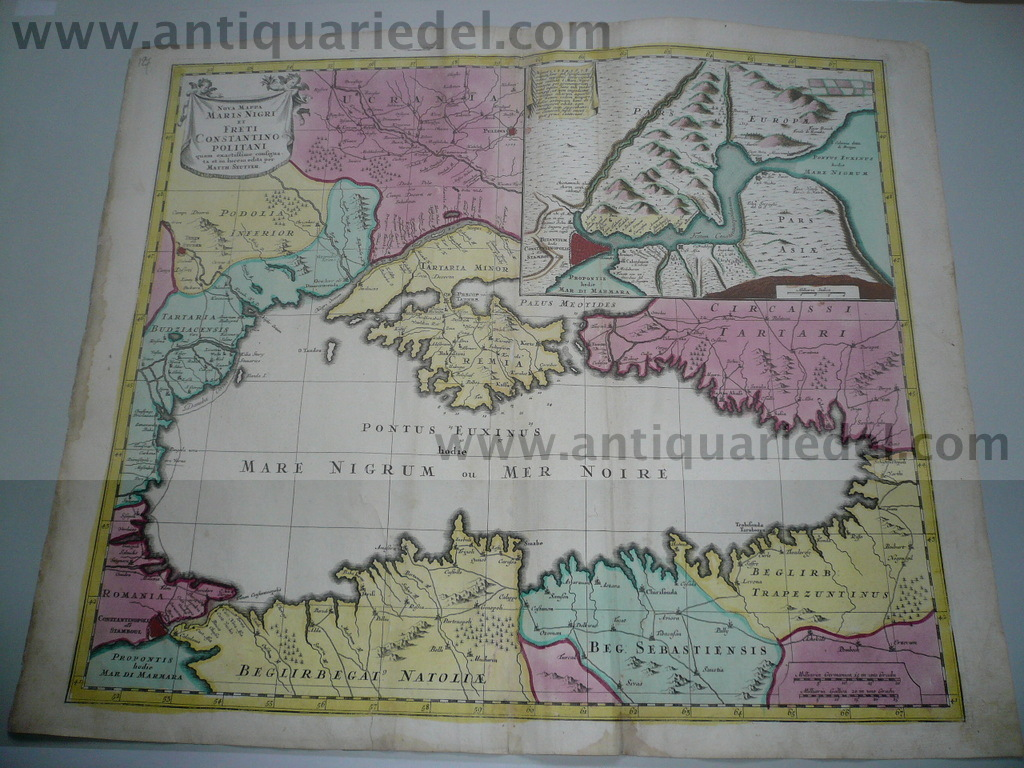 Black Sea,Istanbul, map, anno 1730, Seutter M., old colours
