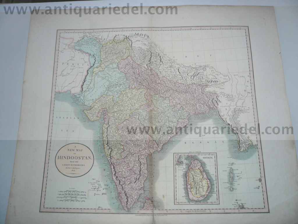 Hinsostaan/India map, Cary John, anno 1806, Sri Lanka