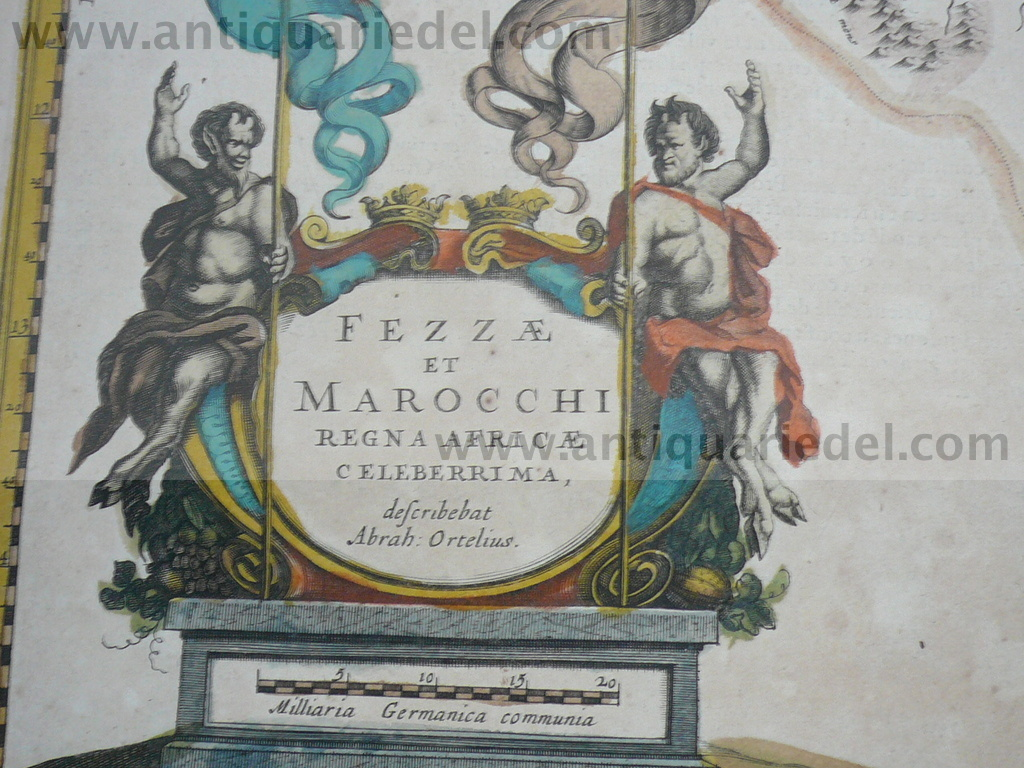 Marocco,map,anno 1640, Blaeu, old colours