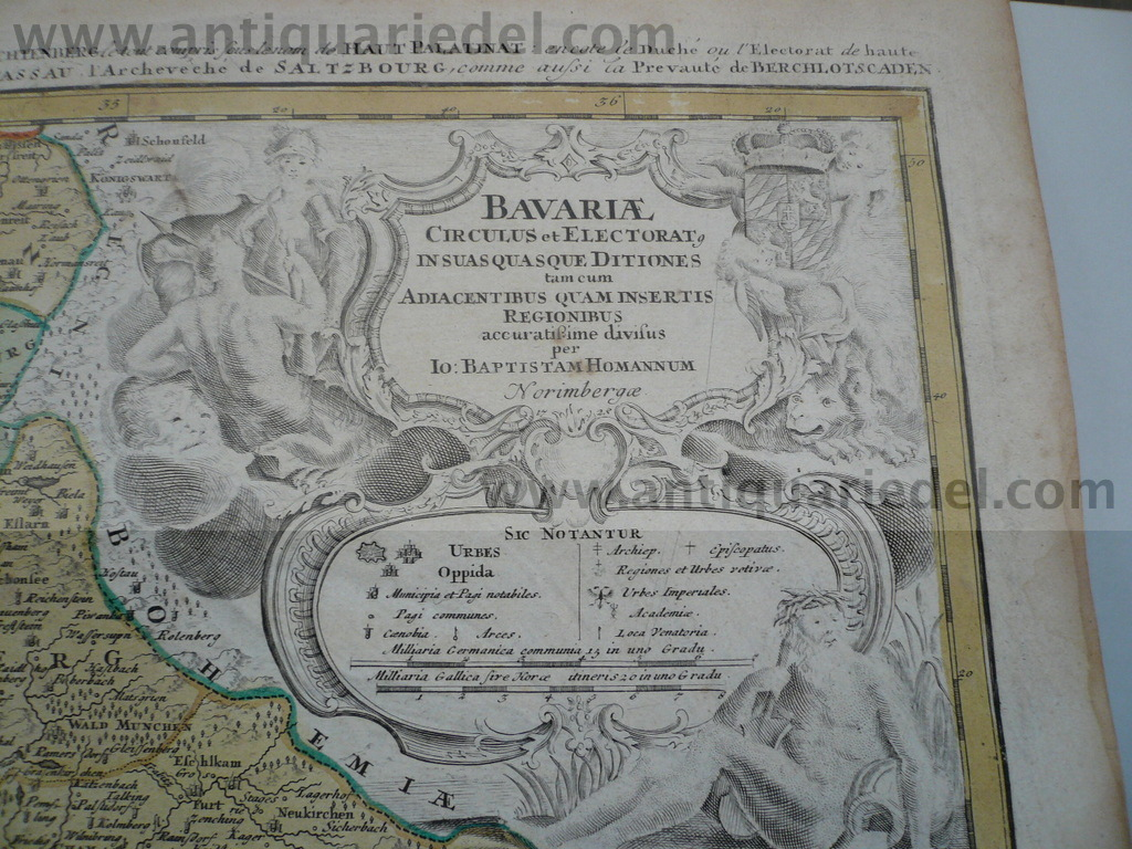 Bavariae Circulus, map, anno 1720, Homann J. B., old colours