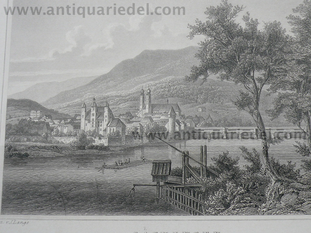 Bad Säckingen, anno 1850, Stahlstich, Lange