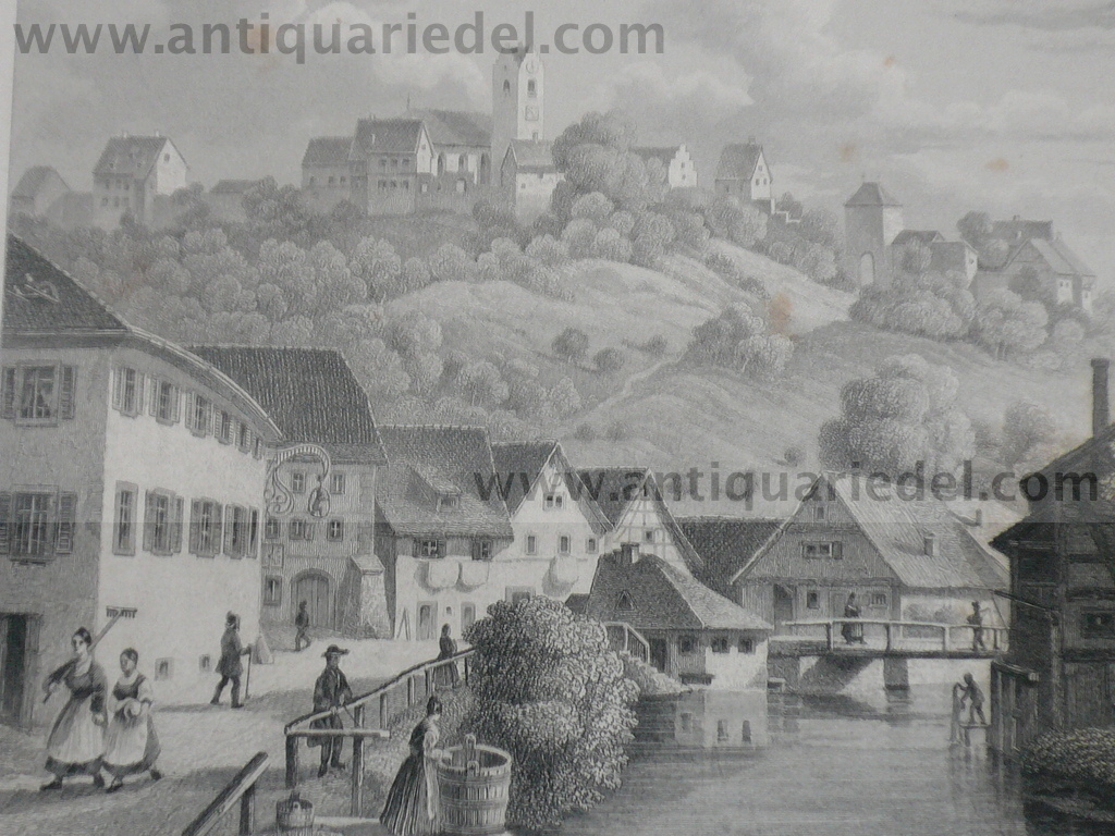 Aach,Lake of Constance, anno 1850, steelengraving