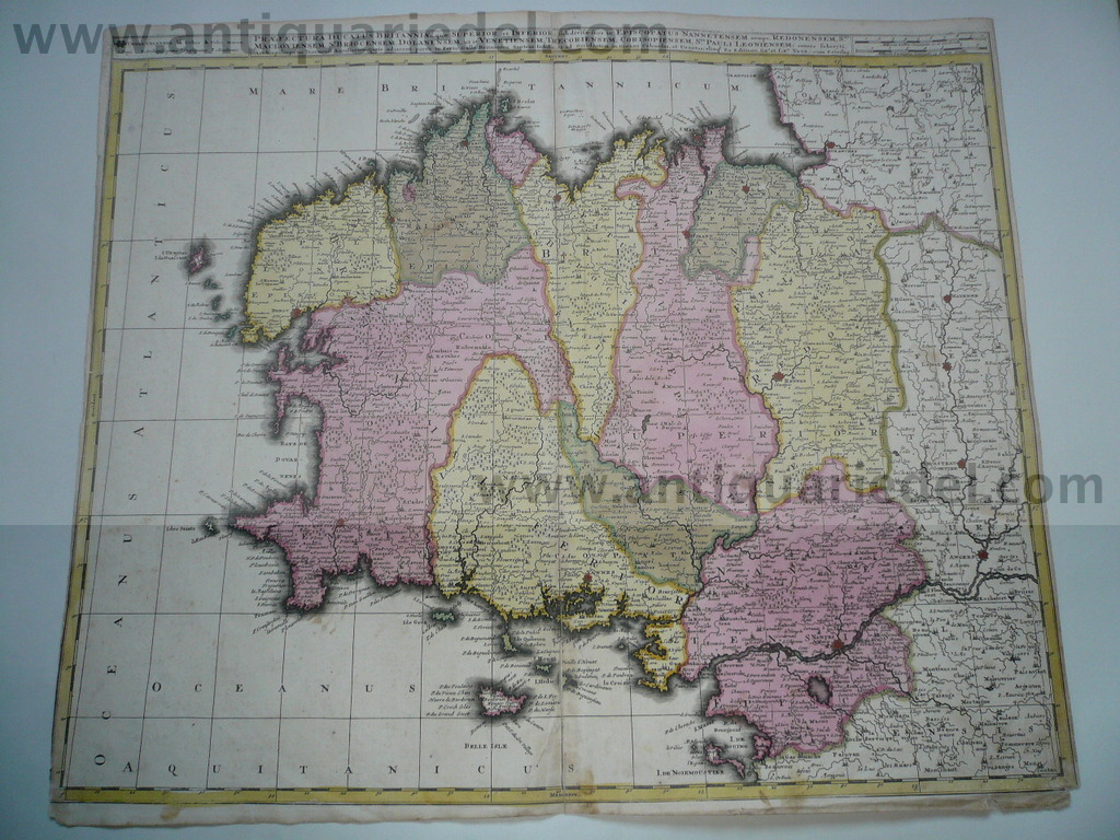 Bretagne,anno 1700, map, Valk, old colours