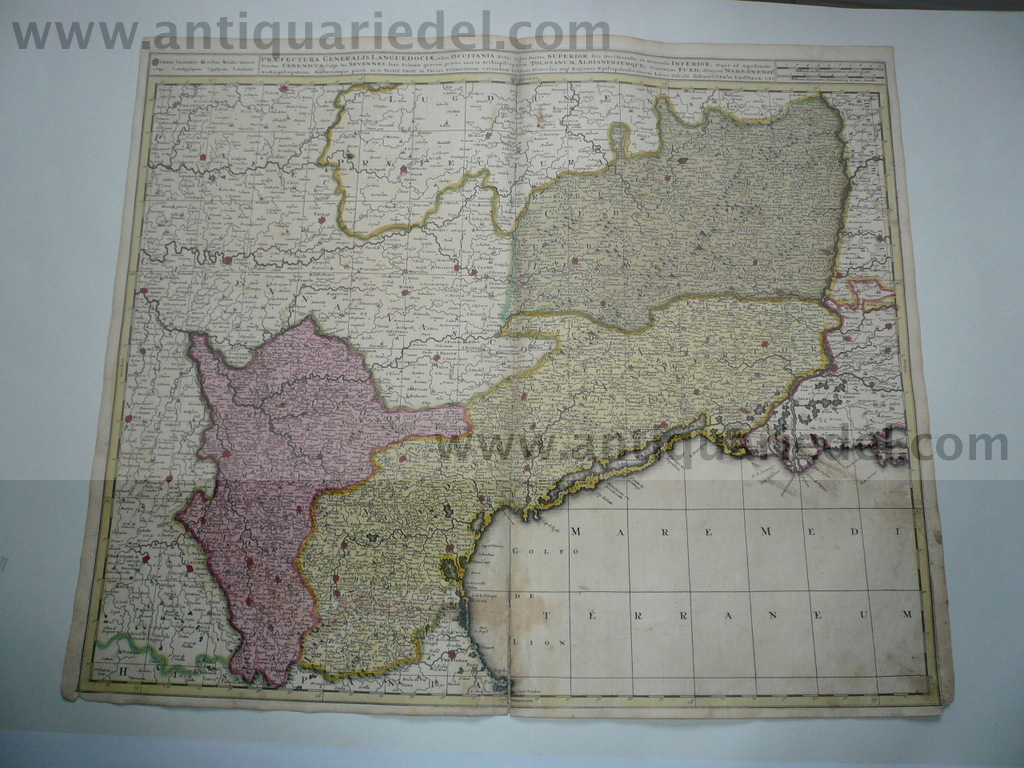 Lanquedoc,anno 1700, map, Valk, old colours