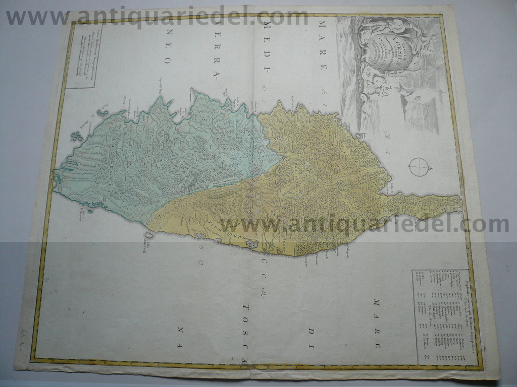 Corsica map, anno 1735, Homann Heirs, old colours