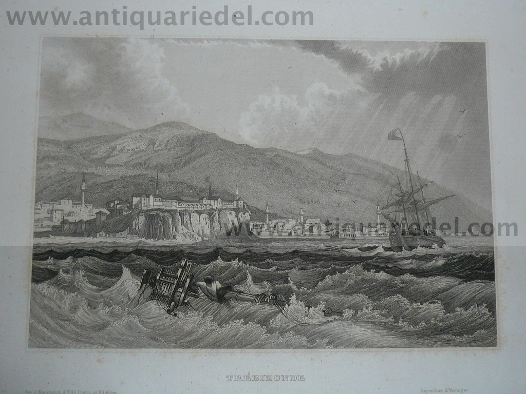 Trabzon, Black Sea, anno 1850, Steelengraving
