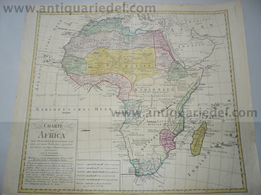 Afrika, generalmap, anno 1797, Homann Heirs, old colours, good p