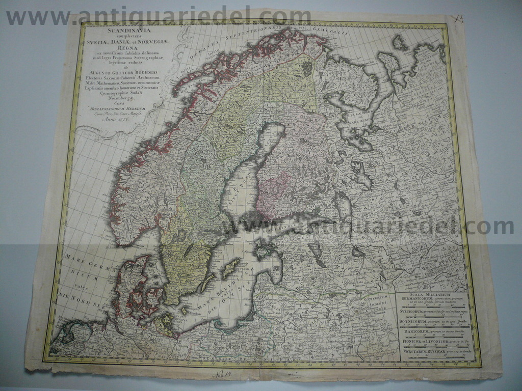 Scandinavia, anno 1776, Homann Heirs, old colours