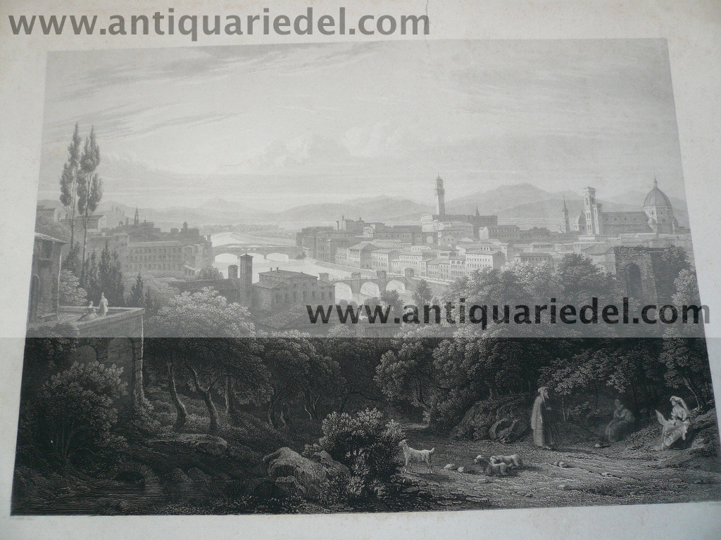 Firenze, anno 1850, big steelengraving