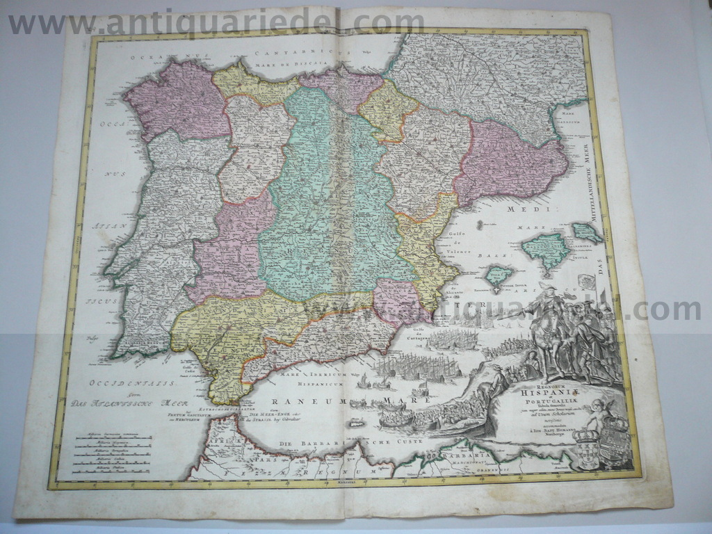 Spain/Portugal, anno 1720, Homann, Generalmap, old colours
