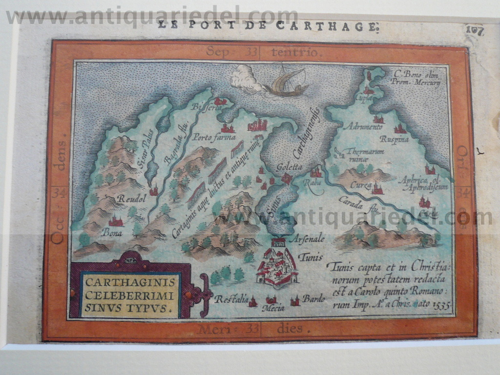 Carthago,Tunis, map, anno 1600, Ortelius A., Atlas minor
