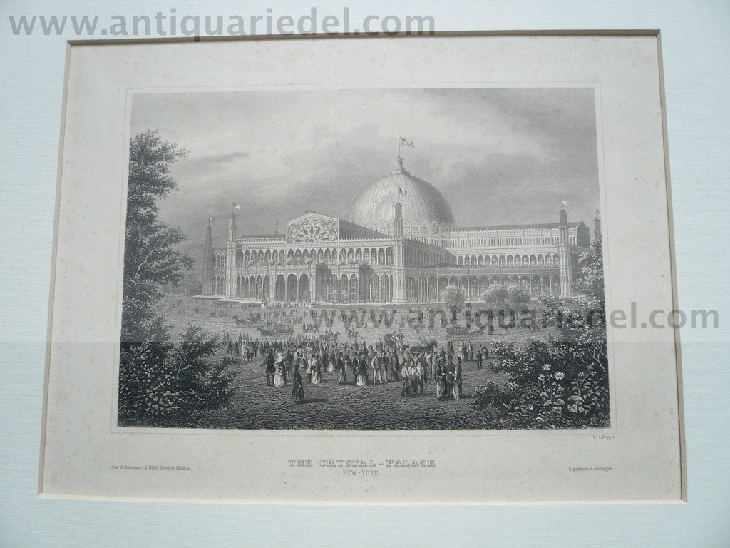 New York, Crystal-Palace,anno 1850, steelengraving