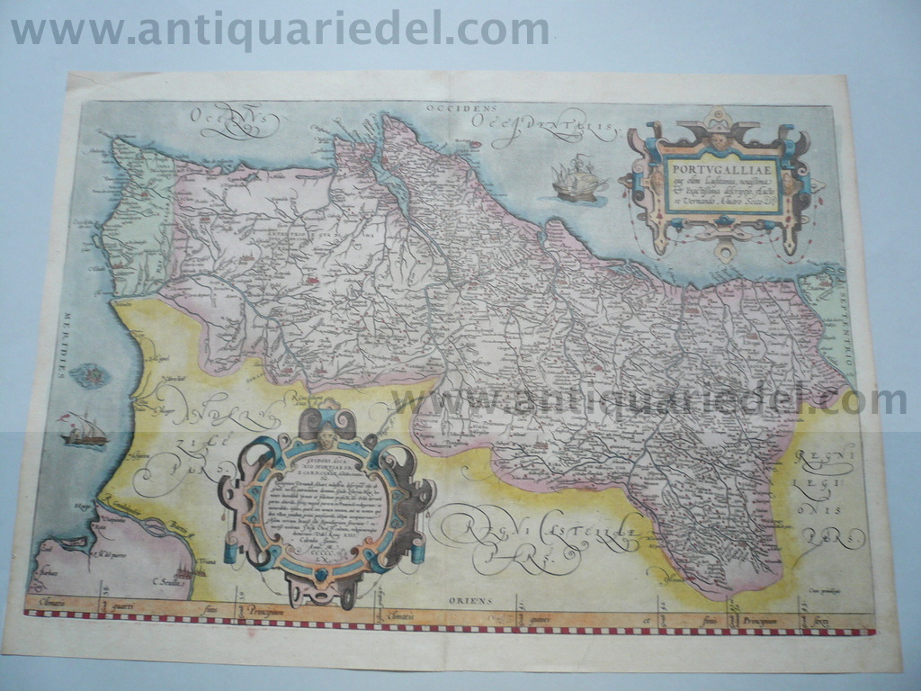 Portugalliae, map, anno 1575, Ortelius A., old colours