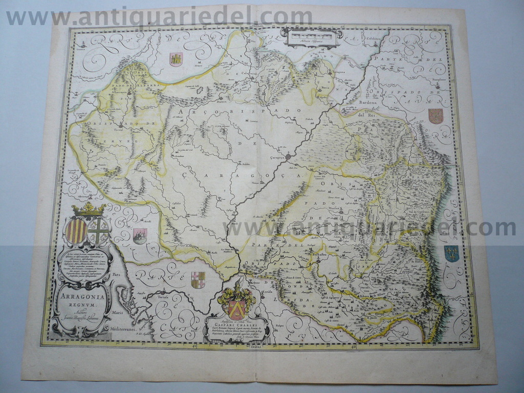 Aragon,anno 1640, Blaeu J., old colours