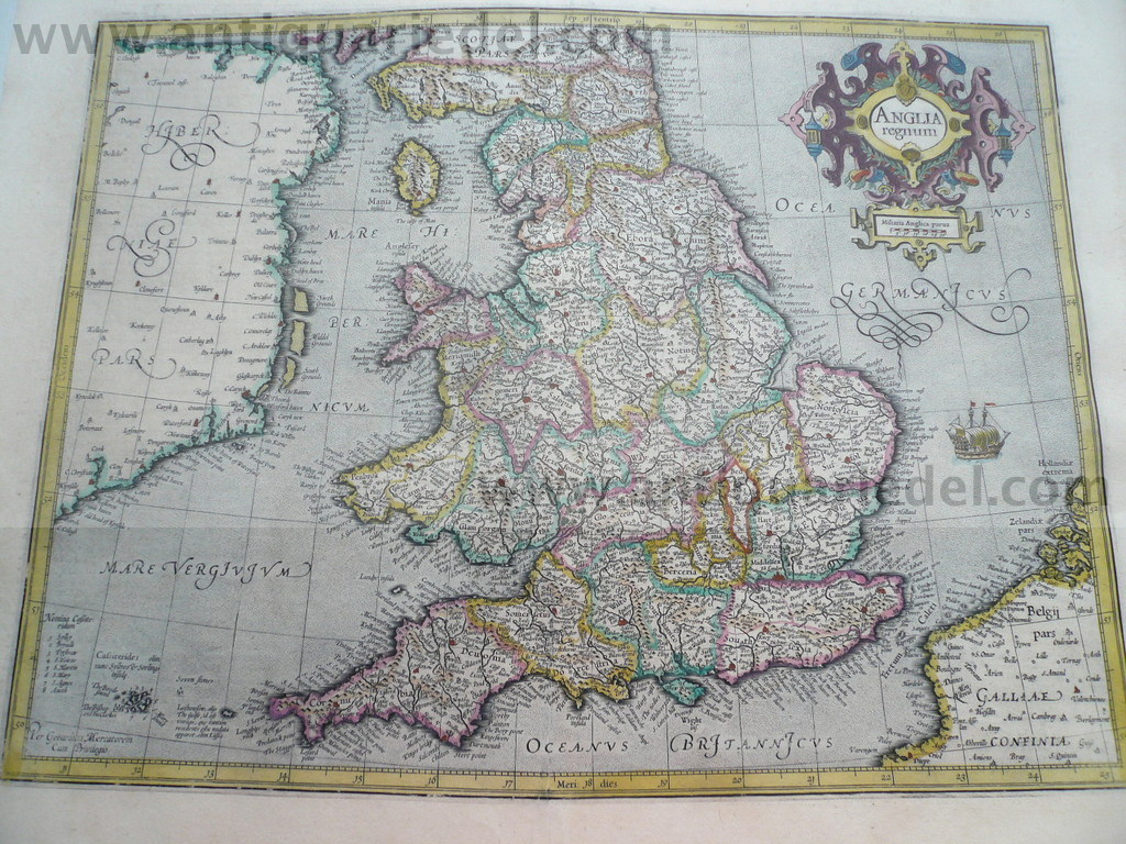 Anglia Regnum, Mercator-Hondius, anno 1630, old colours