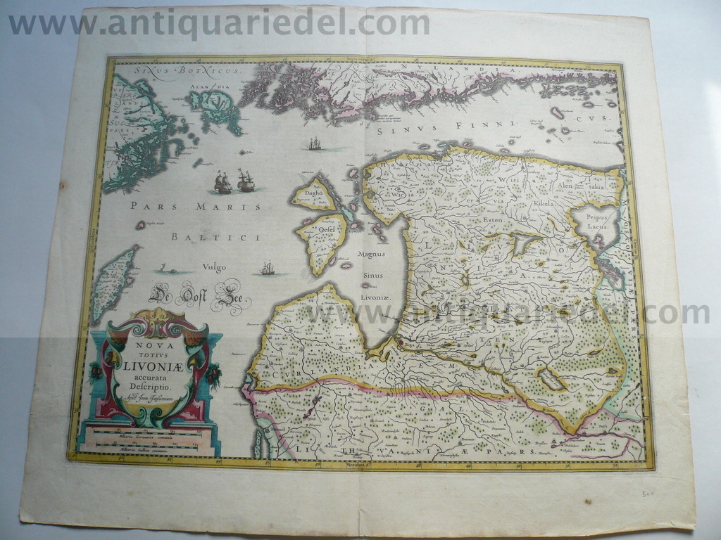 Livoniae, anno 1660, map, Janssonius, old colours