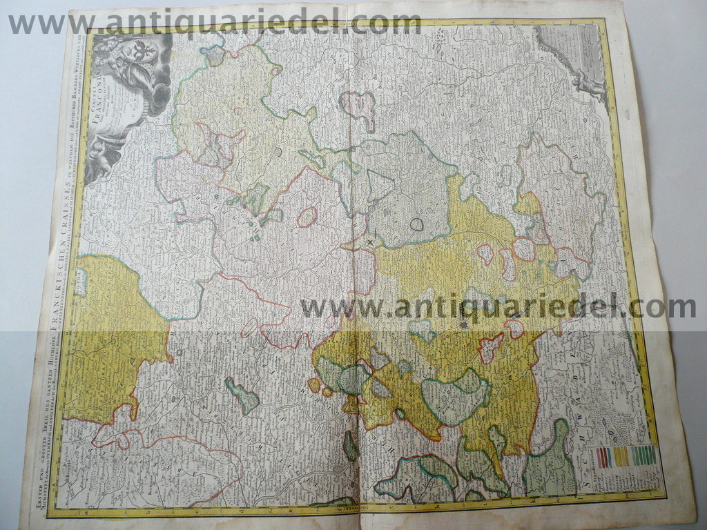 Franconiae, map, anno 1720, Homann, old colours