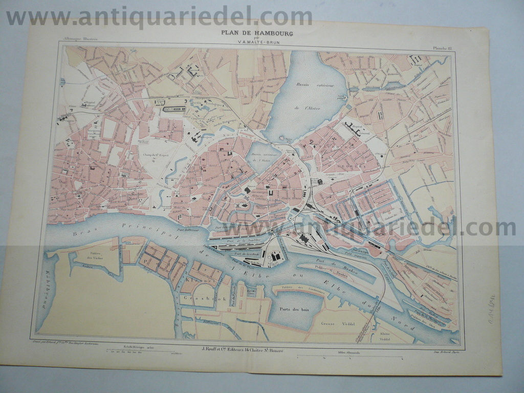 Hamburg, map, anno 1880, Malte Brun