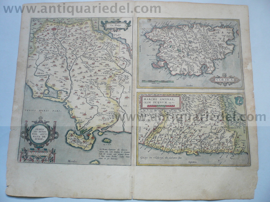 Siena,Corsica,Ancona, anno 1603, Ortelius map, old colours