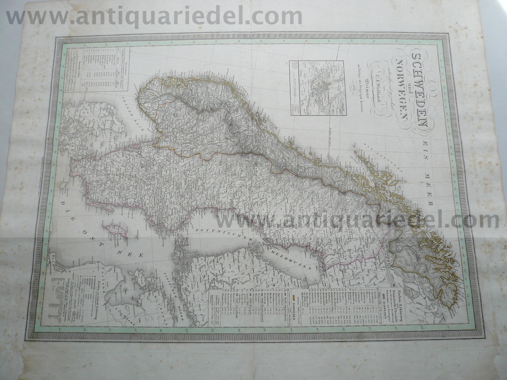 Northern/Europe, anno 1833, big map, Geograph.Institut, old colo