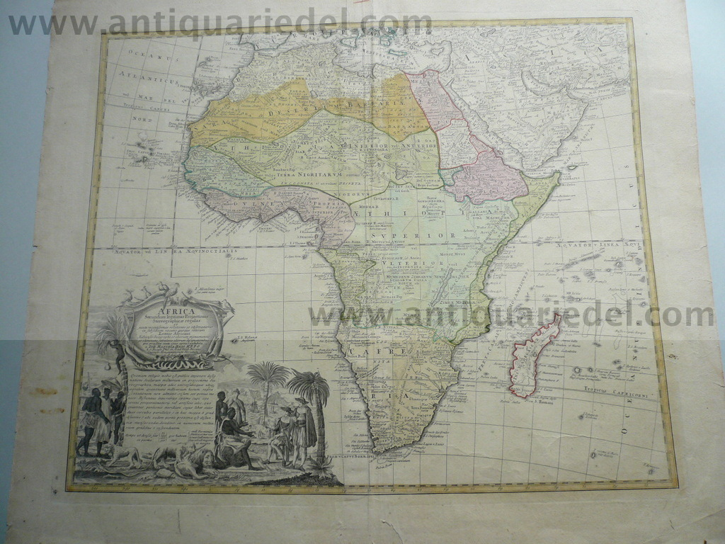 Africa, Generalmap, Homann Heirs, anno 1750, old colours